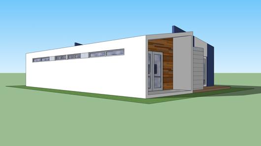 Plano casa moderna 90m2