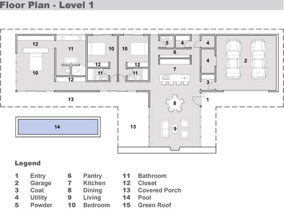 plano casa moderna una planta