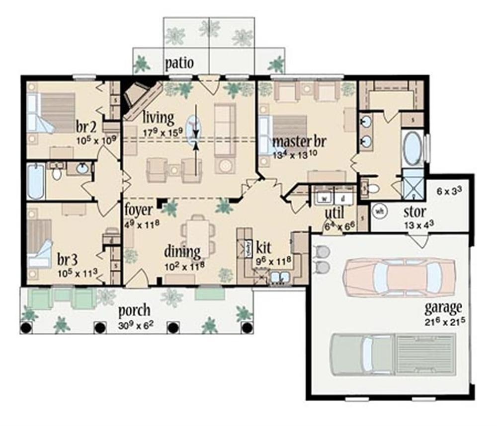 Plano casa campestre de 122m2 – Planos de viviendas