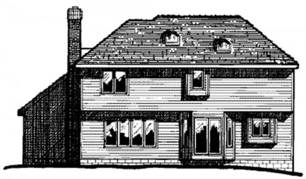 Fachada trasera de vivienda unifamiliar