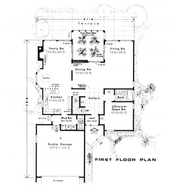 Plano casa de madera seccionado planta principal