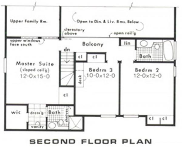 Plano casa de madera seccionado planta superior