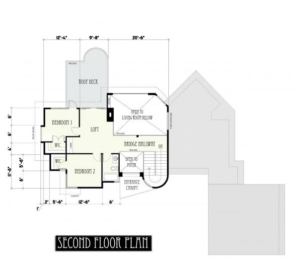 plano moderno de casa de 2 pisos