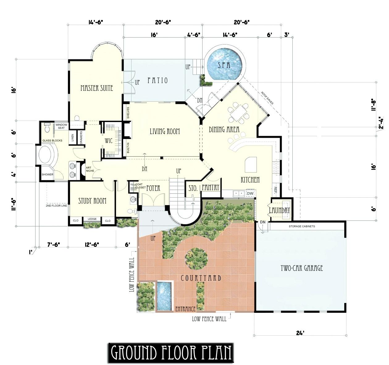 Plano moderno casa de dos plantas