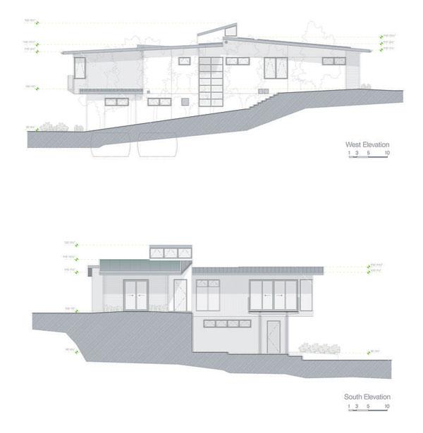 Planos de casa en zona inclinada en San francisco