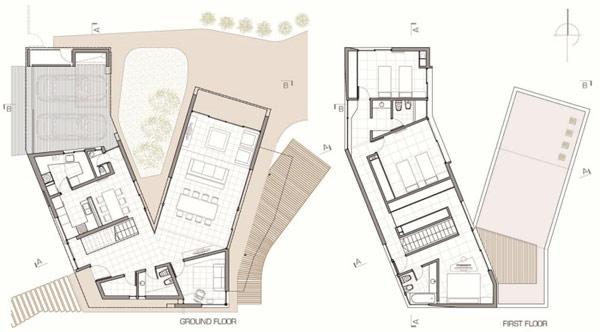 """Planos de casa moderna la casa """"V"""" (2)"""