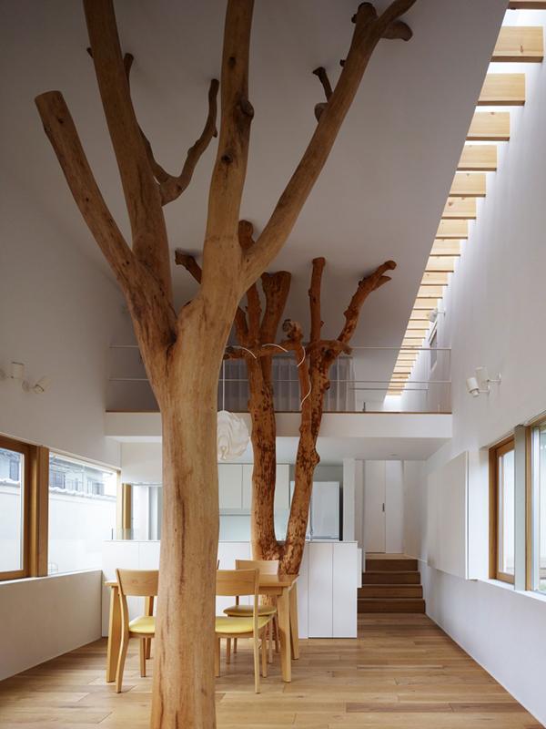 Planos de integración de árboles en estructuras arquitectónicas
