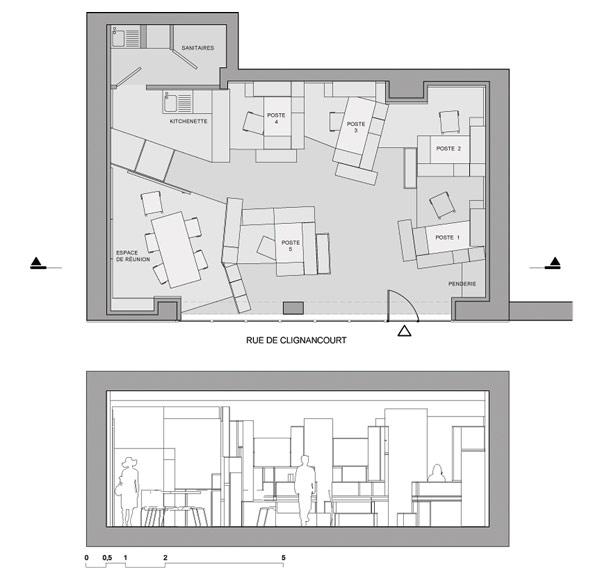 Diseño de planos en 3D para interiores de oficina en bloques