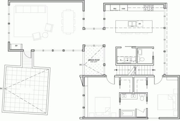Espacios sociales en residencia Estadounidense distribuidos en tres sustanciosos niveles