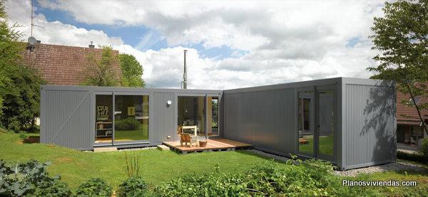 Planos de casa hecha a partir de 4 contenedores con técnica mejorada