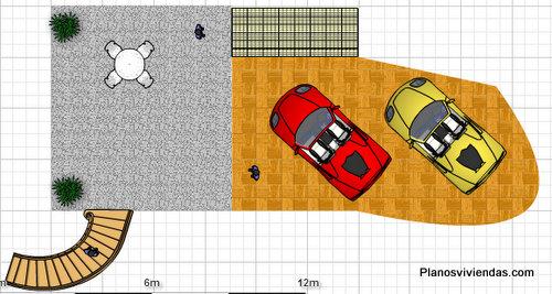 Planos de cochera o garage con jardín exterior