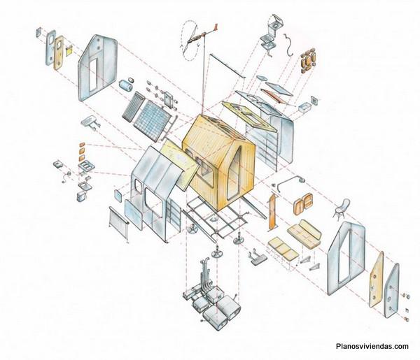 Planos de la microcasa Diogenes