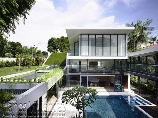 Construcción de casa moderna sobre terreno ondulado en Singapur (8)