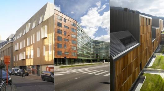 Edificios con fachadas hechas de madera