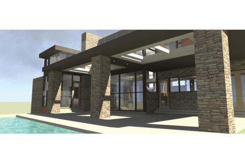 Las columnas de la casa y la piscina