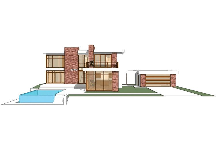 Planos de casa contemporánea de 210 m2