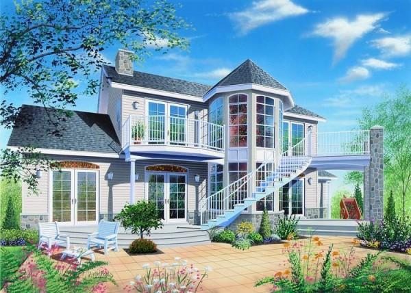 Hermosa fachada de la residencia