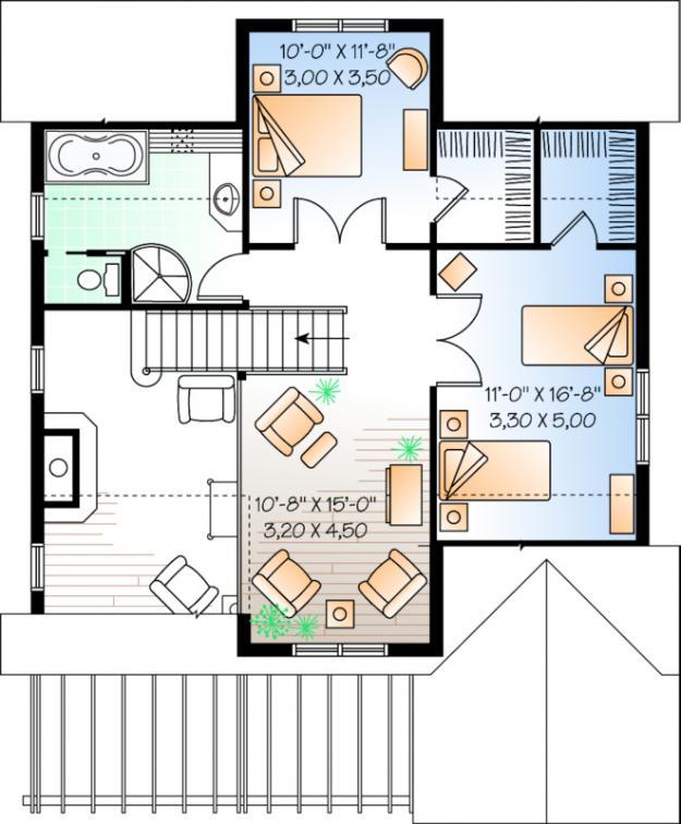 Planos de casa estilo country de 174 metros cuadrados