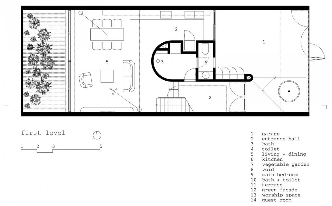 Planos de casa de tres pisos en terreno pequeño, incluye una fachada moderna y diseño de interior 1