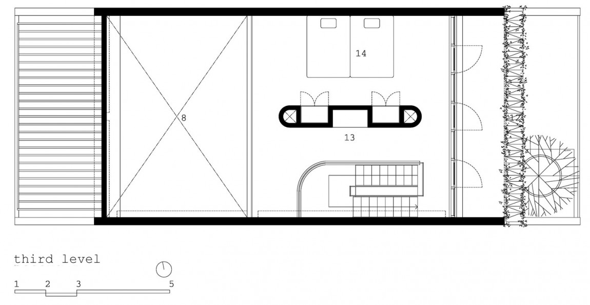 Planos de casa de tres pisos en terreno pequeño, incluye una fachada moderna y diseño de interior 3