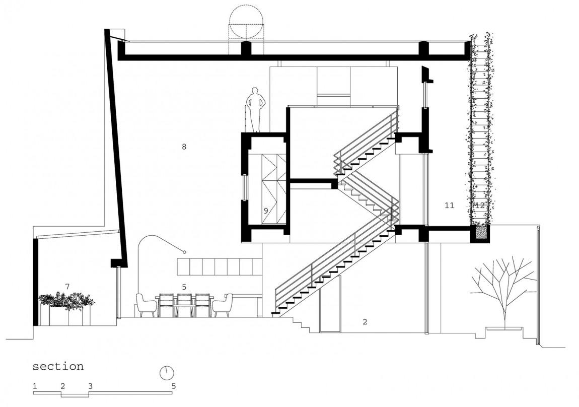 Planos de casa de tres pisos en terreno pequeño, incluye una fachada moderna y diseño de interior 4
