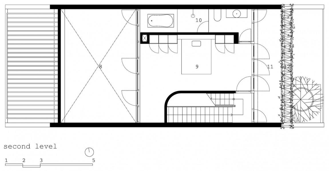 Planos de casa de tres pisos en terreno pequeño, incluye una fachada moderna y diseño de interior 2