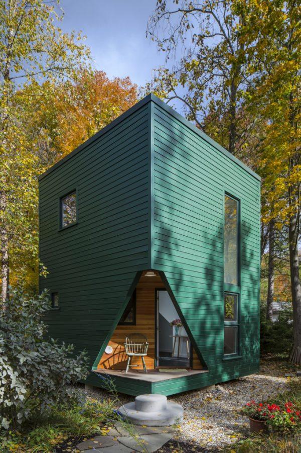 fachada en color verde