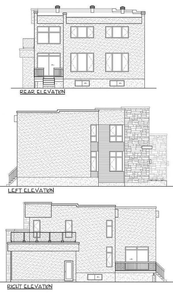 Plano a lápiz de la altura de la casa