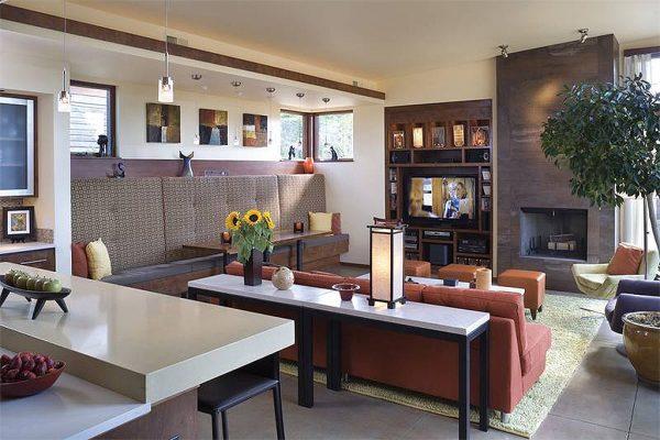 Una sala muy moderna con chimenea